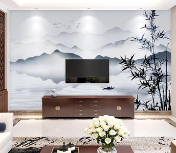 3D Bamboo River WC1803 Wall Murals