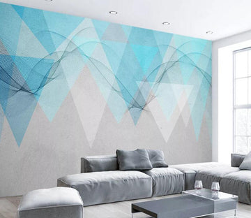 3D Blue Triangle WC1793 Wall Murals