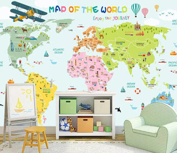 3D Color World Map WC1727 Wall Murals