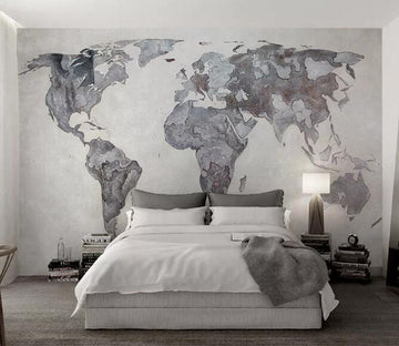 3D Gray World Map WG689 Wall Murals