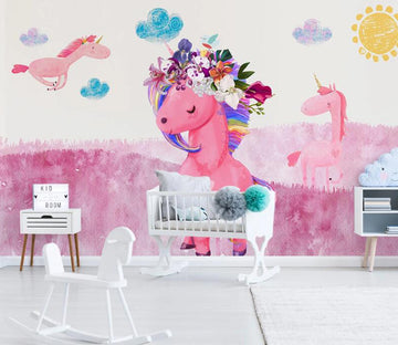 3D Pink Unicorn WC1819 Wall Murals
