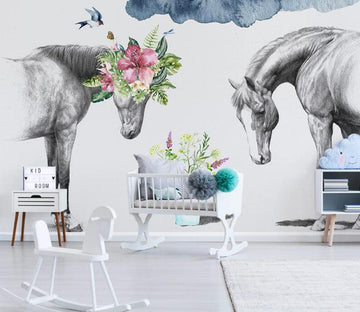 3D Horse Flower WC1818 Wall Murals
