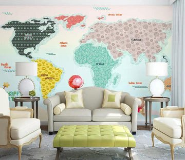 3D Color World Map WC1576 Wall Murals