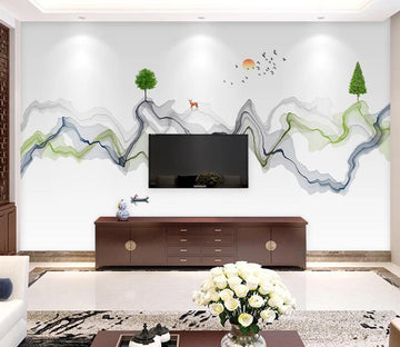 3D Mountain Sun WC1813 Wall Murals