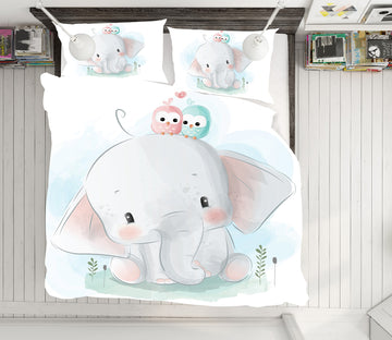 3D Elephant 64017 Bed Pillowcases Quilt