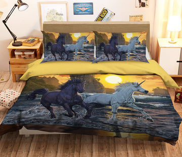 3D Unicorns In Sunset 096 Bed Pillowcases Quilt Exclusive Designer Vincent