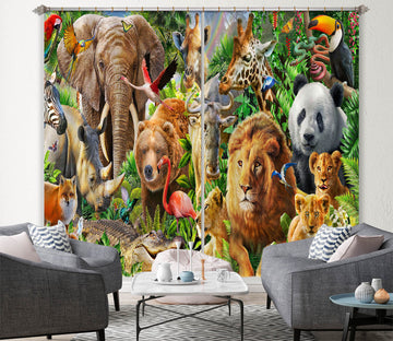 3D Beast World 064 Adrian Chesterman Curtain Curtains Drapes