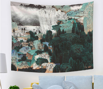 3D Valley Village 2383 Tapestry Hanging Cloth Hang