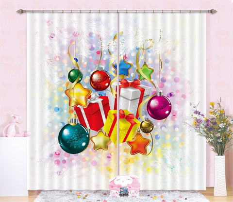 3D Color Ball Gift Box 83 Curtains Drapes