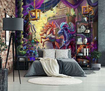3D Two Horses 1417 Rose Catherine Khan Wall Mural Wall Murals