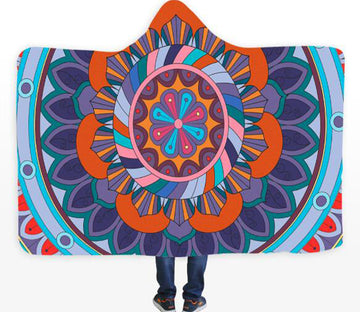 3D Color Lotus 074 Hooded Blanket