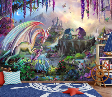3D Dragon Valley 1409 Rose Catherine Khan Wall Mural Wall Murals