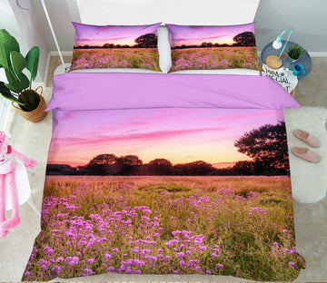 3D Sunset Flower Field 1059 Assaf Frank Bedding Bed Pillowcases Quilt
