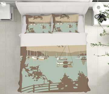 3D Poole Harbour View 2043 Steve Read Bedding Bed Pillowcases Quilt