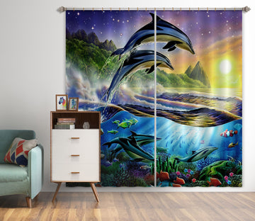 3D Dolphin Ocean 037 Adrian Chesterman Curtain Curtains Drapes