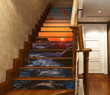 3D Sunset Over Reef Sea Water 636 Stair Risers