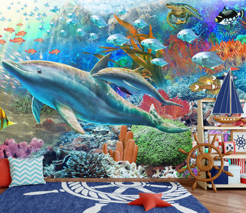 3D Happy Dolphin 1413 Adrian Chesterman Wall Mural Wall Murals