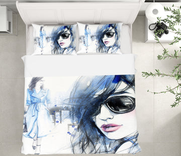 3D Sunglasses Woman 050 Bed Pillowcases Quilt