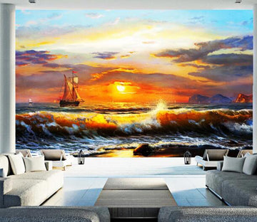 3D Sunset Wave Boat WC194 Wall Murals