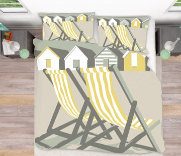 3D Southwold Deckchairs 2059 Steve Read Bedding Bed Pillowcases Quilt