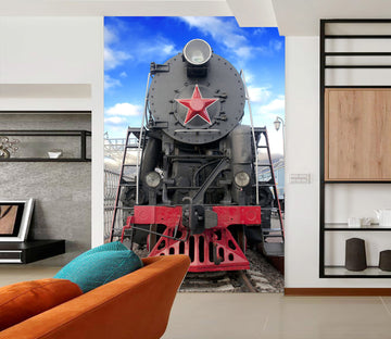 3D Vintage Train Head 434 Vehicle Wall Murals