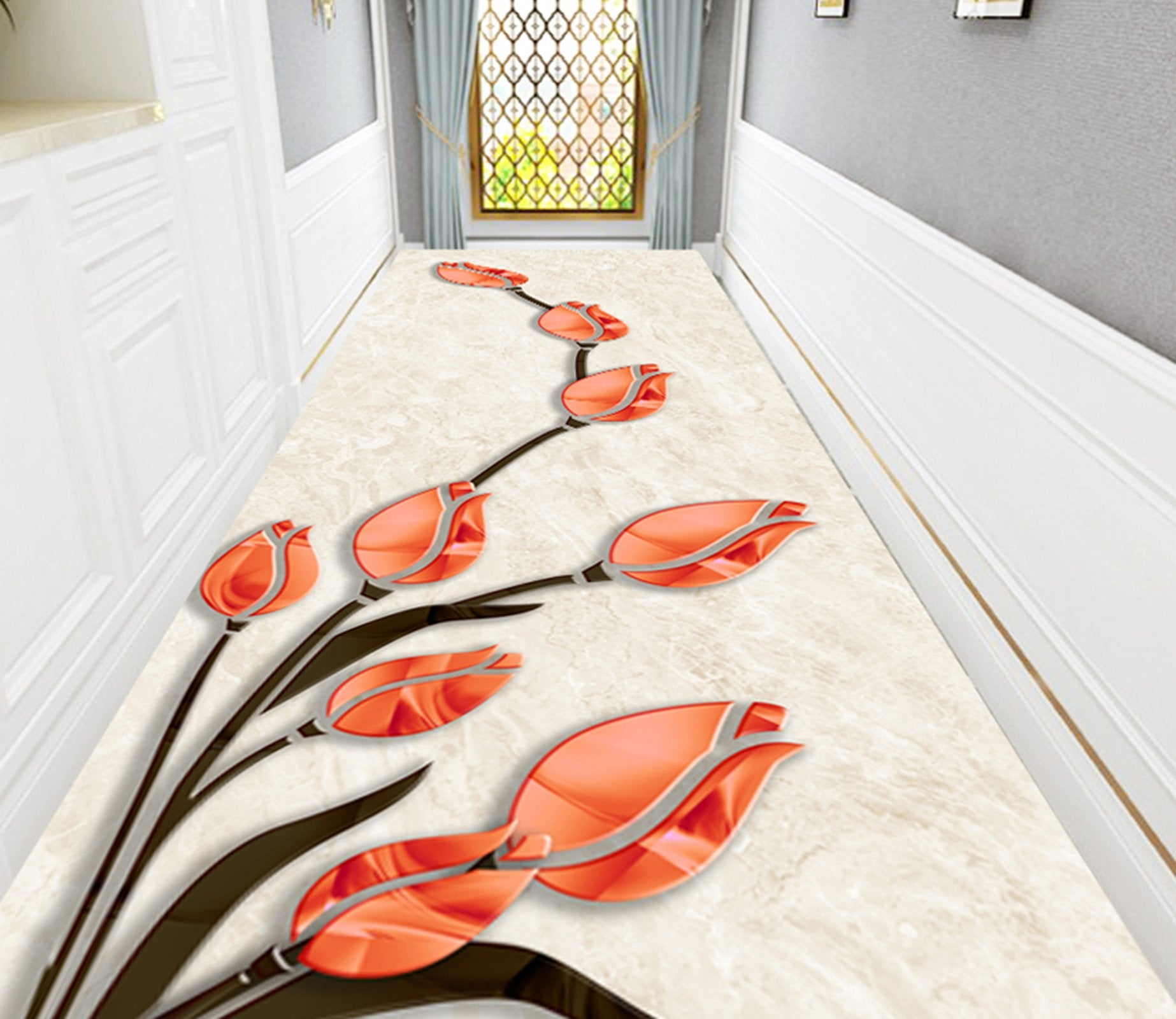 3D Red Lily WG738 Floor Mural
