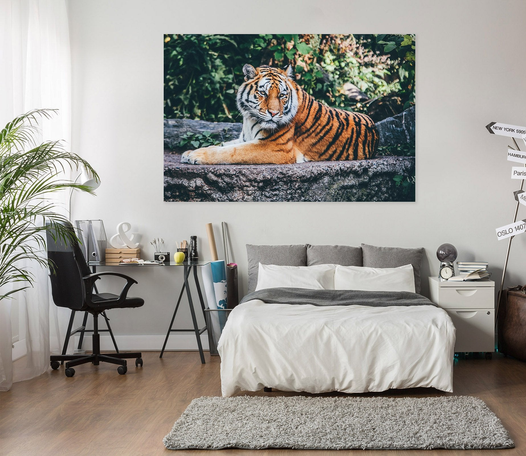 3D Tiger In The Forest 15 Animal Wall Stickers