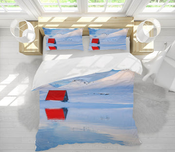 3D Red Hut River 137 Marco Carmassi Bedding Bed Pillowcases Quilt