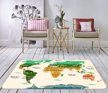 3D World Territory 280 World Map Non Slip Rug Mat