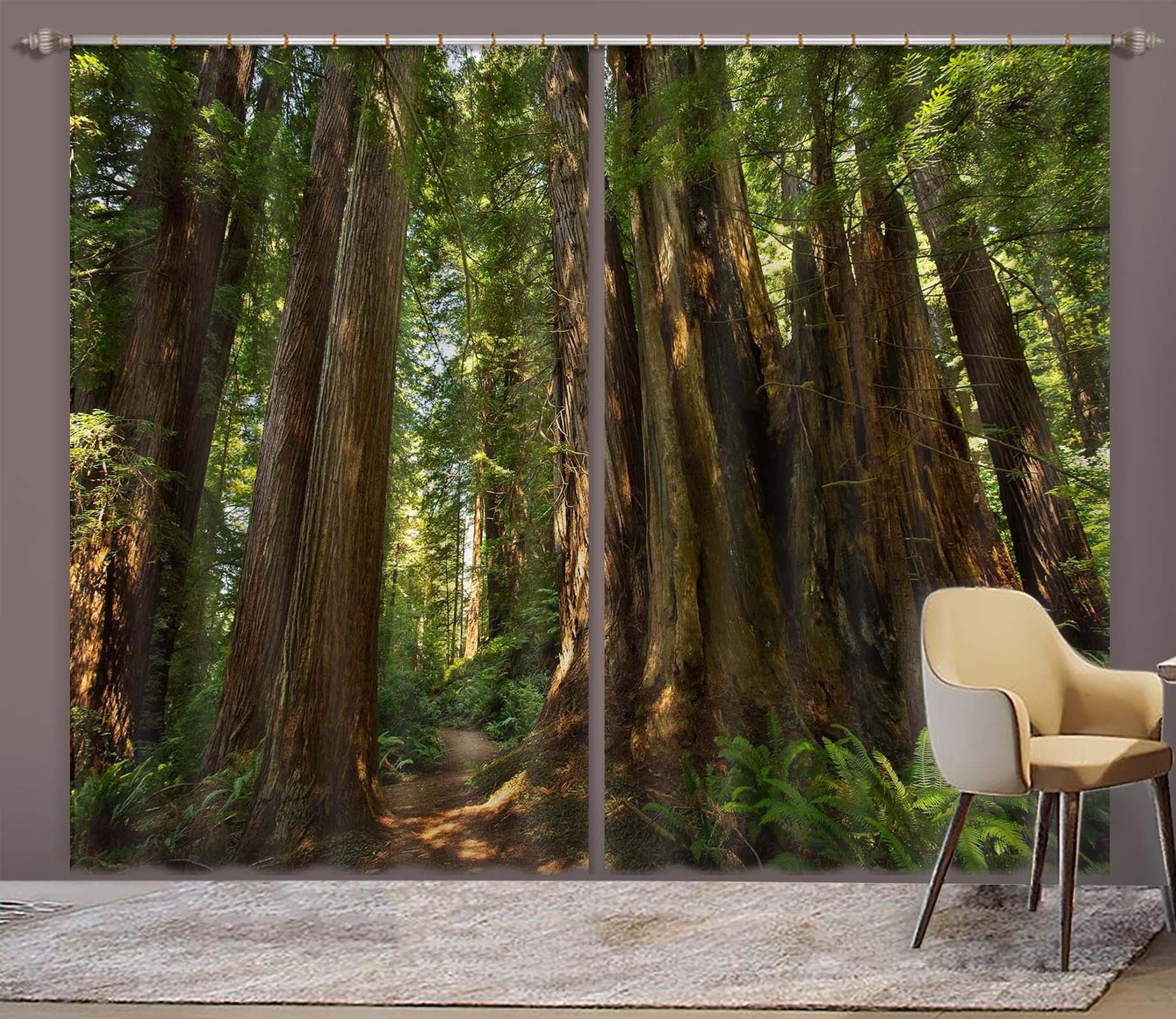 Woodland Sunlight Forest Trees 3D Window Curtains Mural Blockout Drapes Fabric