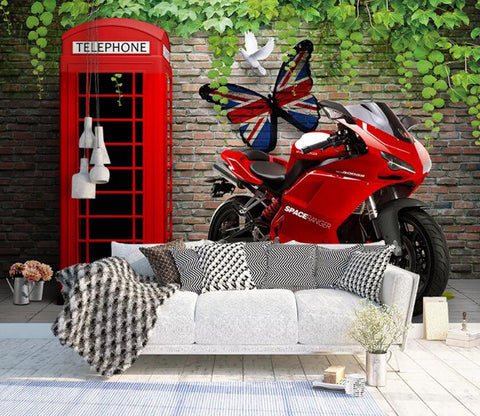 3D Red Motorcycle WC84 Wall Murals