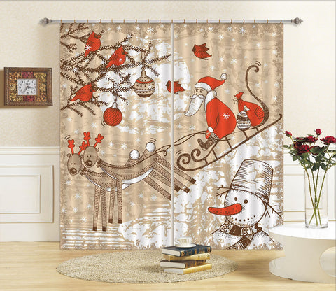 3D Doodle Christmas Sleigh Deer 82 Curtains Drapes