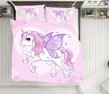 3D Pink Purple Wings Unicorn 63237 Bed Pillowcases Quilt