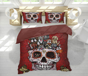 3D Skull Pot 106 David Lozeau Bedding Bed Pillowcases Quilt