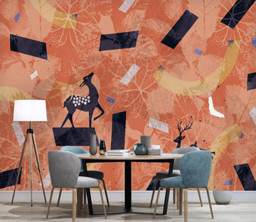 3D Patterns In Orange 2582 Wall Murals