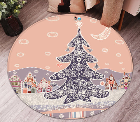 3D Christmas Tree Lace 092 Round Non Slip Rug Mat