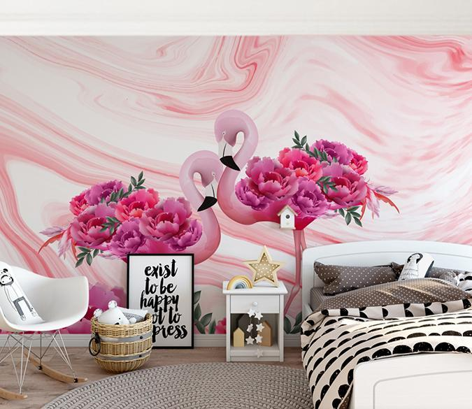 3D Pink Flamingo 353 Wall Murals