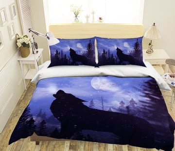 3D Moon Black Wolf 141 Bed Pillowcases Quilt