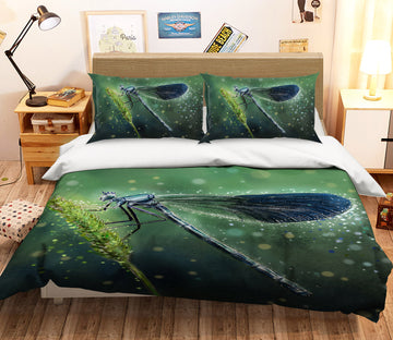 3D Green Dragonfly 112 Bed Pillowcases Quilt