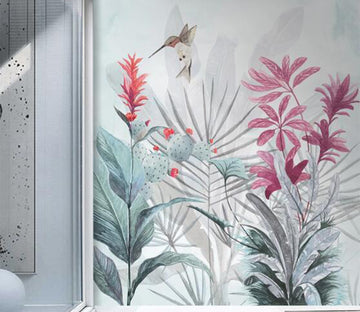3D Bird Near Red Flowers 2612 Wall Murals