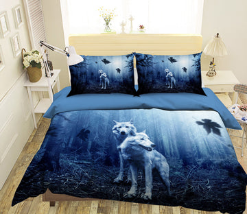 3D Wild Wolf 1955 Bed Pillowcases Quilt