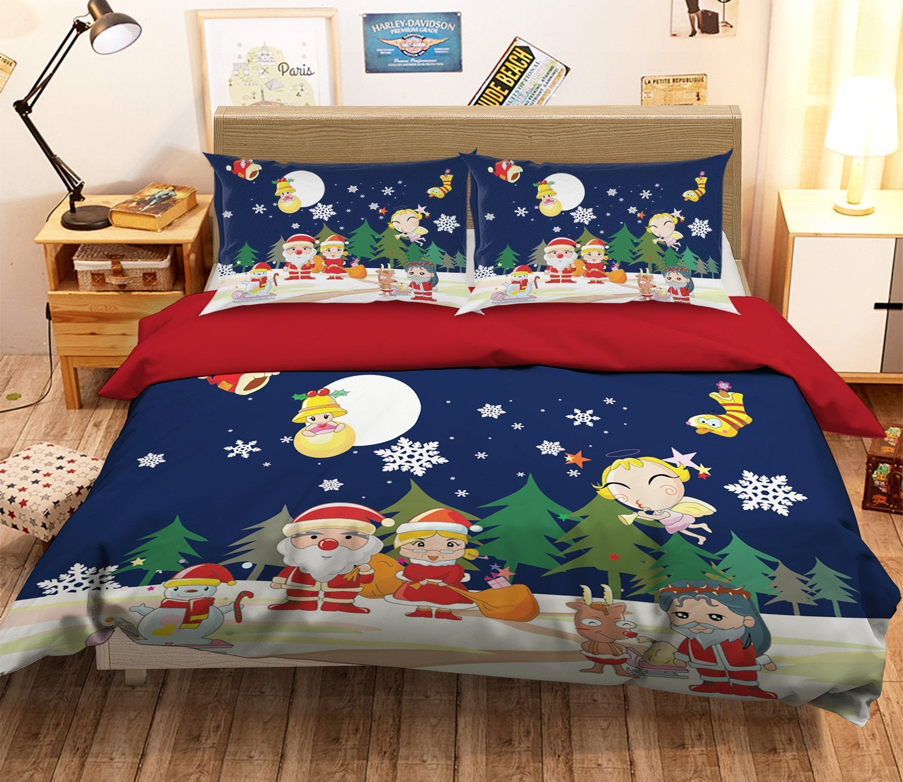 3D Christmas Moon Companionship 43 Bed Pillowcases Quilt Quiet Covers AJ Creativity Home
