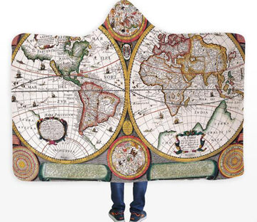 3D Round World Map 327 Hooded Blanket