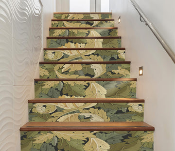 3D Green Leaf 396 Stair Risers Wallpaper AJ Wallpaper
