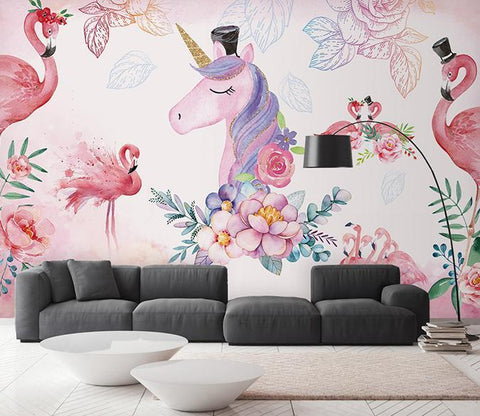 3D Flamingo Unicorn 591 Wall Murals