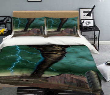 3D Tornado Breakthrough 092 Bed Pillowcases Quilt Exclusive Designer Vincent
