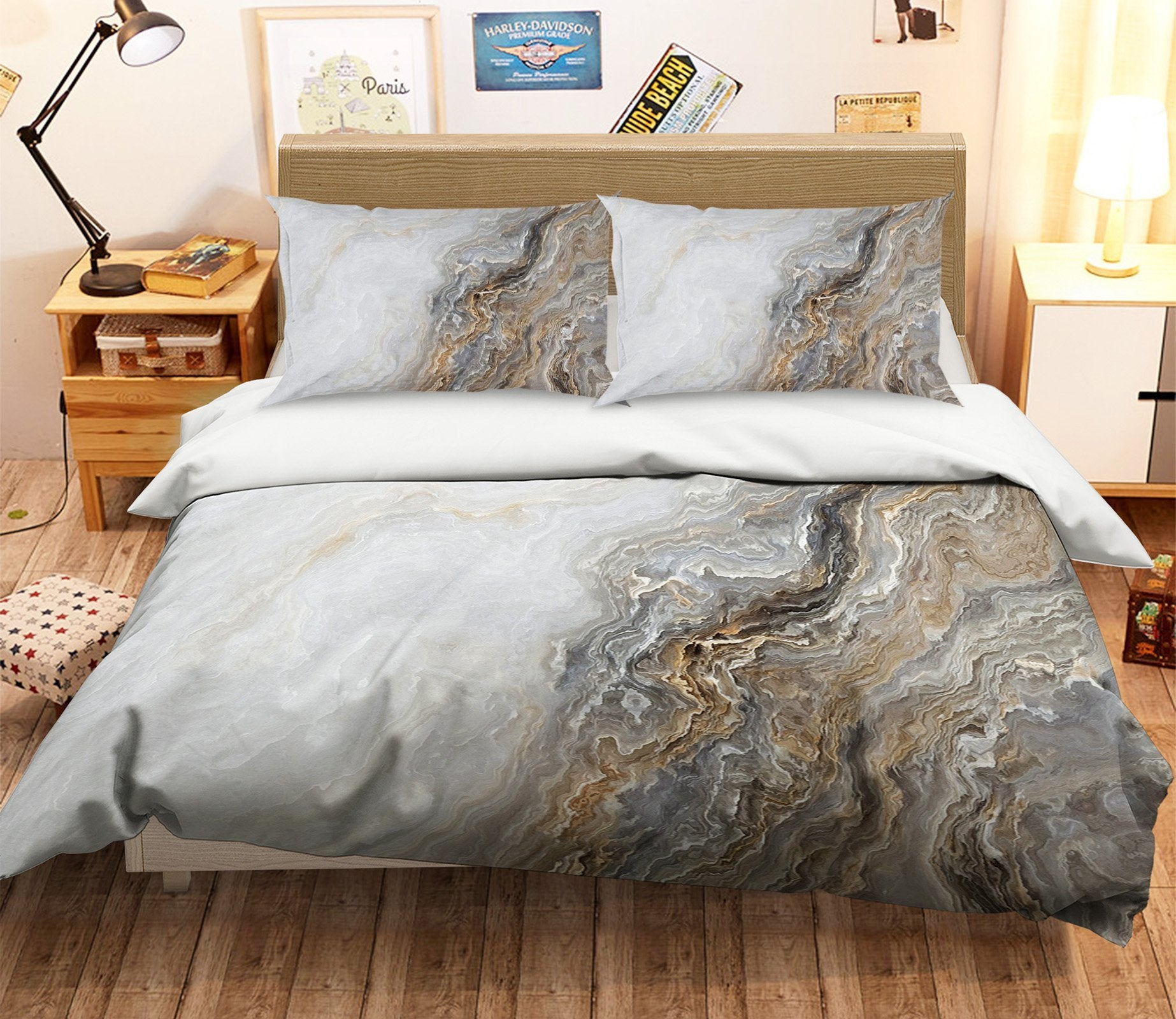3D Oil Painting Wave Pattern 063 Bed Pillowcases Quilt Wallpaper AJ Wallpaper