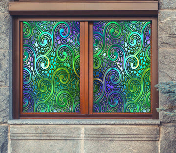 3D Green Vine 431 Window Film Print Sticker Cling Stained Glass UV Block