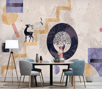 3D Deer On The Yellow Ladder 2577 Wall Murals