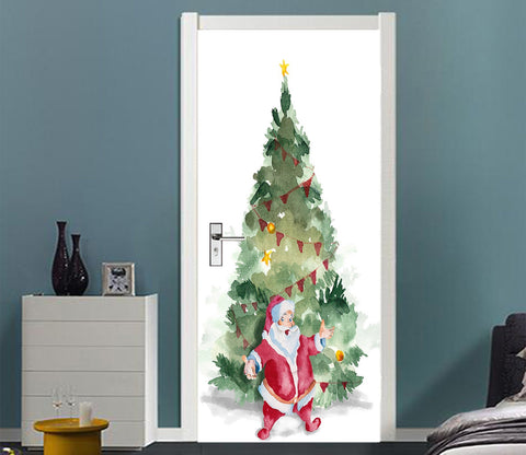 3D Christmas Xmas Tree Santa Claus 5 Door Mural